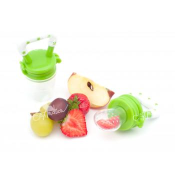 Silikonové krmítko a kousátko pro děti, zelené, sada 2 kusy, Cuculo
