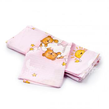 Dětská plena 70x80 cm, tetrová, růžová s medvídkem na obláčku, 5 ks, Cuculo