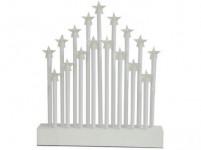 svícen vánoční el.17 svíček LED, teplá BÍ, hvězda, dřev. BÍ,27,7x26x4cm, do zásuvky