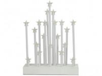 svícen vánoční el.20 svíček LED, teplá BÍ, hvězda, dřev. BÍ,22,3x29,5x5cm, do zásuvky