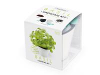Vypěstuj si BAZALKU, samozavlažovací květináč bílý 10x10 cm, Domestico