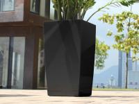 Samozavlažovací květináč GreenSun ICES 12x12 cm, výška 23 cm, černý