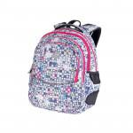 Easy flow 920757 Batoh školní tříkomorový bílo-šedý, růžové zipy, profilovaná záda, 26 l