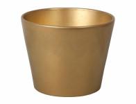 Obal na květník CLIVIA CHRISTMAS keramický zlatý 13x10cm