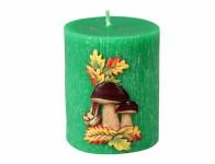 Svíčka HŘIBY VÁLEC vyřezávaná zdobená d6x7cm
