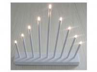 svícen vánoční 9 svíček LED, teplá BÍ, kov.,26x31x5,5cm,2xtuž. AA baterie