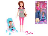 Panenka kloubová 29 cm s holčičkou v kočárku a doplňky - mix variant či barev