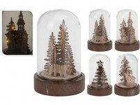 dekorace LED vánoční 9cm sklo/dřevo přírodní - mix variant či barev