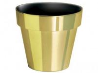 Obal na květník CUBE CHROME GOLD plastový zlatý d11x10cm