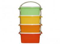 jídlonosič 3x1,2l + 1x1,4l hranatý 17x15x26cm plastový - mix barev