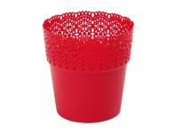Obal na květník BELLA plastový červený d15x15cm