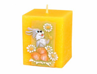Svíčka velikonoční ZAJÍC HRANOL vyřezávaná 6x6x7cm
