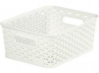 "box úložný RATTAN 25x20x10cm (S),""Y"" STYLE, plastový, KRÉM"