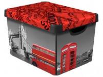 box úložný LONDON 39,5x29,5x25,0cm (L) s víkem, plastový