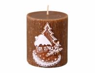Svíčka PERNÍK VÁLEC vánoční vyřezávaná d6x7cm