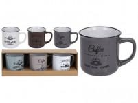 hrnek 330ml COFFEE keramický (3ks) - mix barev