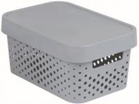 box úložný INFINITY děrovaný 26,8x18,6x12,4cm s víkem, plastový, ŠE