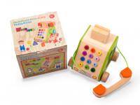 Veselý telefon - dřevěná montessori hračka