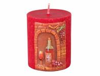 Svíčka VÍNO VÁLEC vyřezávaná zdobená d6x7cm
