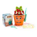 Vypěstuj si jahůdky - dětská sada pro pěstování jahod se samozavlažovacím květináčem a výukou angličtiny, oranžová, CUCULO
