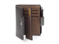 Moderní pánská peněženka s kapsou na drobné, eko kůže, hnědá