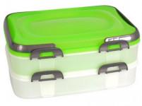dóza PIKNIK s uchy, 2 patra, 40x30x18cm plastová - mix variant a barev