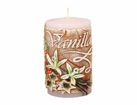 Svíčka VANILLA VALEC zdobená vyřezávaná vonná d6x10cm