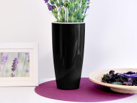 Samozavlažovací květináč GreenSun LIQUIDS průměr 12 cm, výška 23 cm, černý