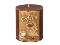 Svíčka COFFEE VÁLEC vyřezávaná zdobená d6x7cm