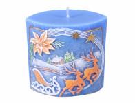 Svíčka vánoční VÁNOCE SOBI vyřezávaná 8,5x5x8,5cm