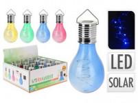 lampa solární ŽÁROVKA 4LED 15x7,5cm závěsná - mix barev