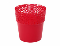 Obal na květník BELLA plastový červený d12x12cm