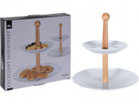 podnos 2 patra kulatý 16,5cm, 24cm porcelán/dřevo
