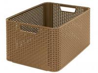 box úložný RATTAN 43,6x33x23cm (L), STYLE2, plastový, MOCCA tm.