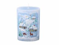 Svíčka ZIMA OVÁL vánoční d10x14cm