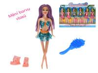 Panenka kloubová 29 cm plážová měnící barvu vlasů s doplňky