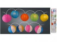 osvětlení LAMPIONY pr.10cm 10LED řetěz, papír - mix barev