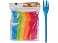 vidlička plastová (48ks) jednorázová - mix barev