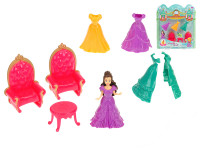 Princezna 10 cm s náhradními šaty + nábytek