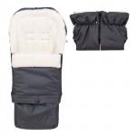 Set - rostoucí fusak 3v1 Arctic wool a rukávník, ovčí vlna, grafit, Cuculo