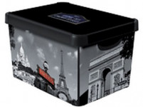 box úložný PARIS 39,5x29,5x25,0cm (L) s víkem, plastový