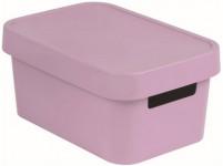 box úložný INFINITY 26,8x18,6x12,4cm s víkem, plastový, RŮŽ