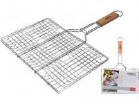 mřížka opékací hranatá 34x23cm, délka 48cm, BBQ dřevěná rukojeť