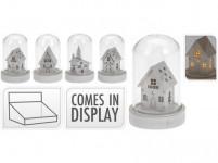 dekorace LED vánoční 9cm sklo/dřevo BÍ - mix variant či barev