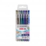 Metal gelové pero - mix barev - 6ks/sada