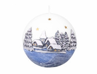 Svíčka ZIMNÍ SEN KOULE DIODA vánoční d10cm