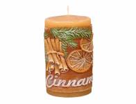 Svíčka CINNAMON VÁLEC zdobená vonná d6x10cm