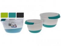 mísa šlehací sada 2díl. 18,22cm (2l,3,5l) plastová, s gumou - mix barev