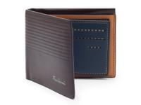 Luxusní tenká pánská peněženka s kresbou dřeva, eko kůže, tmavě hnědá